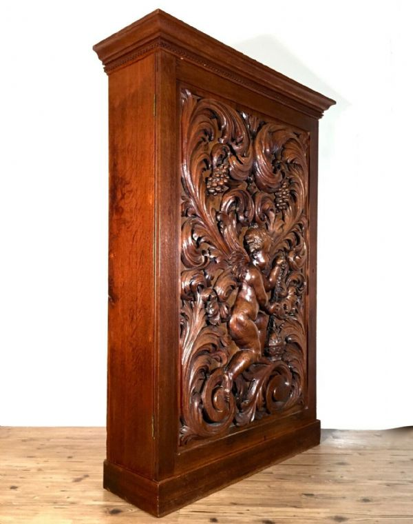 Antique 19th Century Gothic Revival Mahogany Wooden Bible Bookcase Book Cabinet